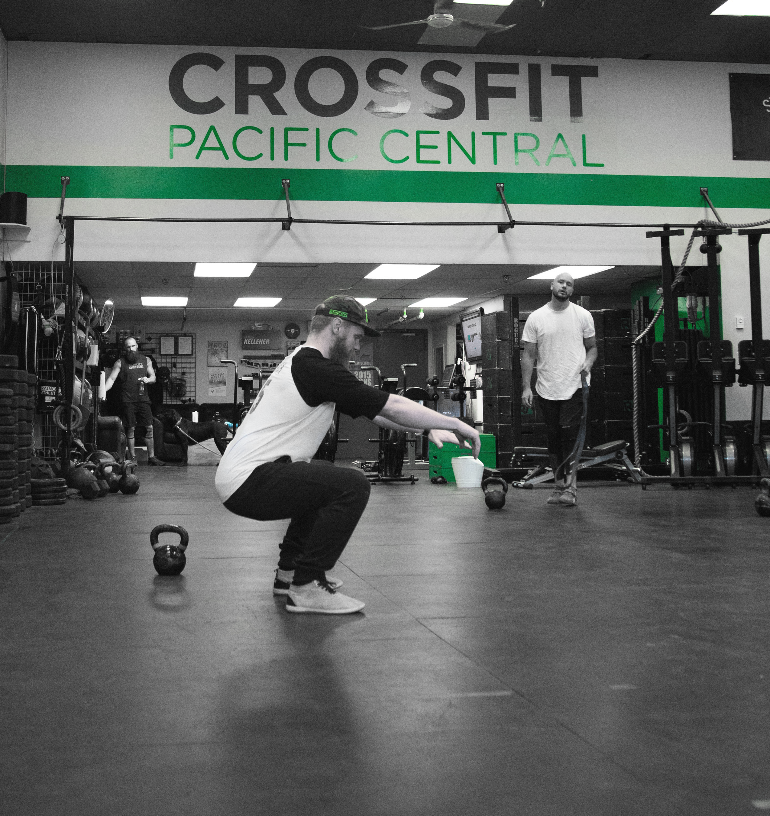 The CrossFit Pacific Central decal came off our wall over a year ago, and the front entrance sign is in the process of being replaced.