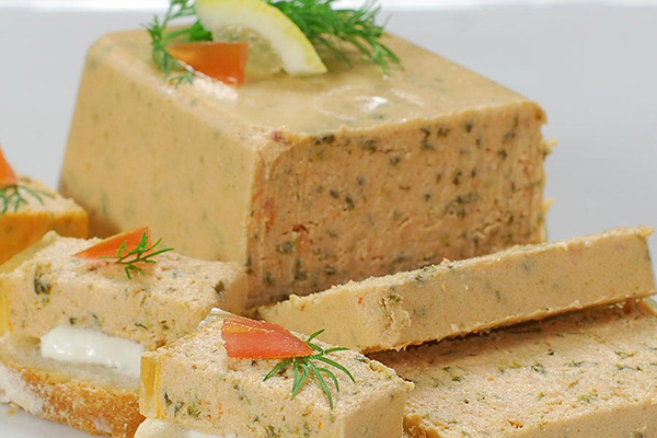 SMOKED SALMON PATE A delicious smoked salmon mixed with a cream cheese like finish, a French twist on a traditional favorite. So good it's hard to stop eating this one!