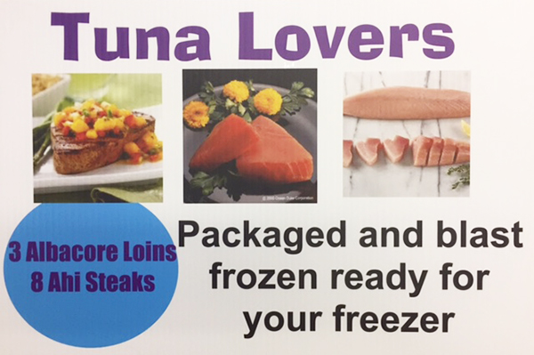 TUNA LOVERS FREEZER PACK Packaged and blase frozen ready for your freezer. 3 Albacore Loins - 8 Ahi Steaks