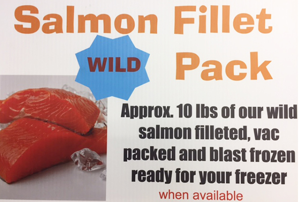 SALMON FILLET PACK Approximately 10 lbs of our wild salmon. Filleted, vac packed and blast frozen ready for your freezer.  * available during seasonal openings
