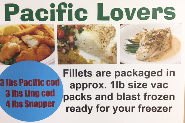 PACIFIC LOVERS FREEZER PACK Fillets are package in approximately 1lb size vac packs and blast frozen ready for your freezer. 3lbs Pacific cod - 3lbs Ling cod - 4lbs Snapper