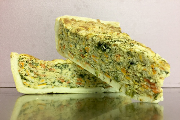SMOKED SALMON QUICHE Egg, smoked wild salmon and spinach simply heat and serve or eat as is great for a quick lunch.