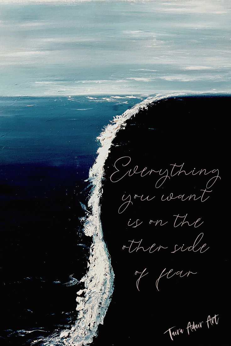 """Everything you want is on the other side of fear"" Feel free to pin or screenshot to use as your phone background! If shared on social media or elsewhere, please tag me @tairaadair.art to give credit! Printing of this image is prohibited by copyright."