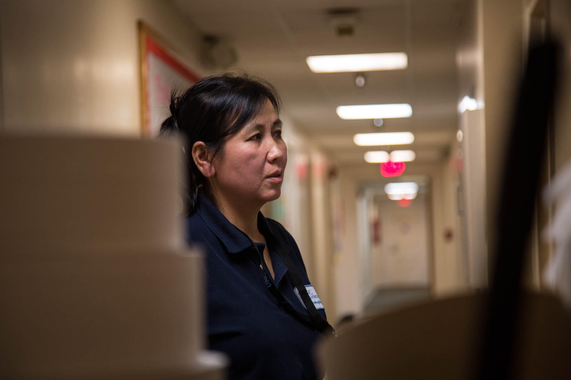 "As a housekeeper for college dorms, Lwin has seen her fair share of messes and has plenty of funny stories to tell about the students she interacts with. However, it is easy to see that she loves those she runs into and develops connects with them despite her difficulty speaking English. ""Sometimes [the students] pile the trash, but it's okay. We do what we came to do,"" she said laughingly. ""But this building, the student is good because when I cleaned a couple years ago I did a floor of all men and the ground [was covered] in throw up."""