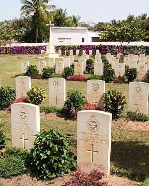 Headstones of fallen servicemen in the Fajara War Cemetery, The Gambia.