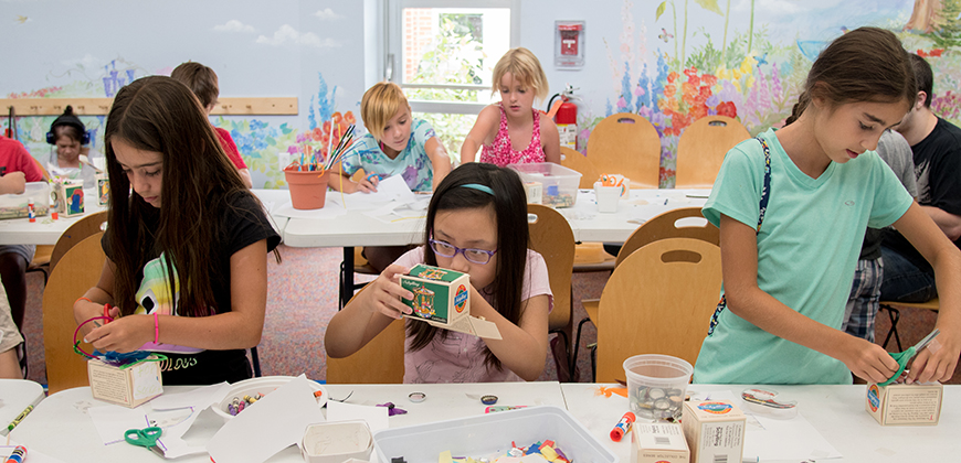 """Lily Weir, 7, (from left) Ella Wong, 10, and Grace Weir, 10, create shadow boxes during a Brushstrokes Art Lab maker program inside the Mt. Lebanon Library. Elementray age students were invited to hear the story """"Mr. Cornell's Dream Boxes"""" then asked to create personalized shadow boxes similar to art in Joseph Cornell's children's tale."""