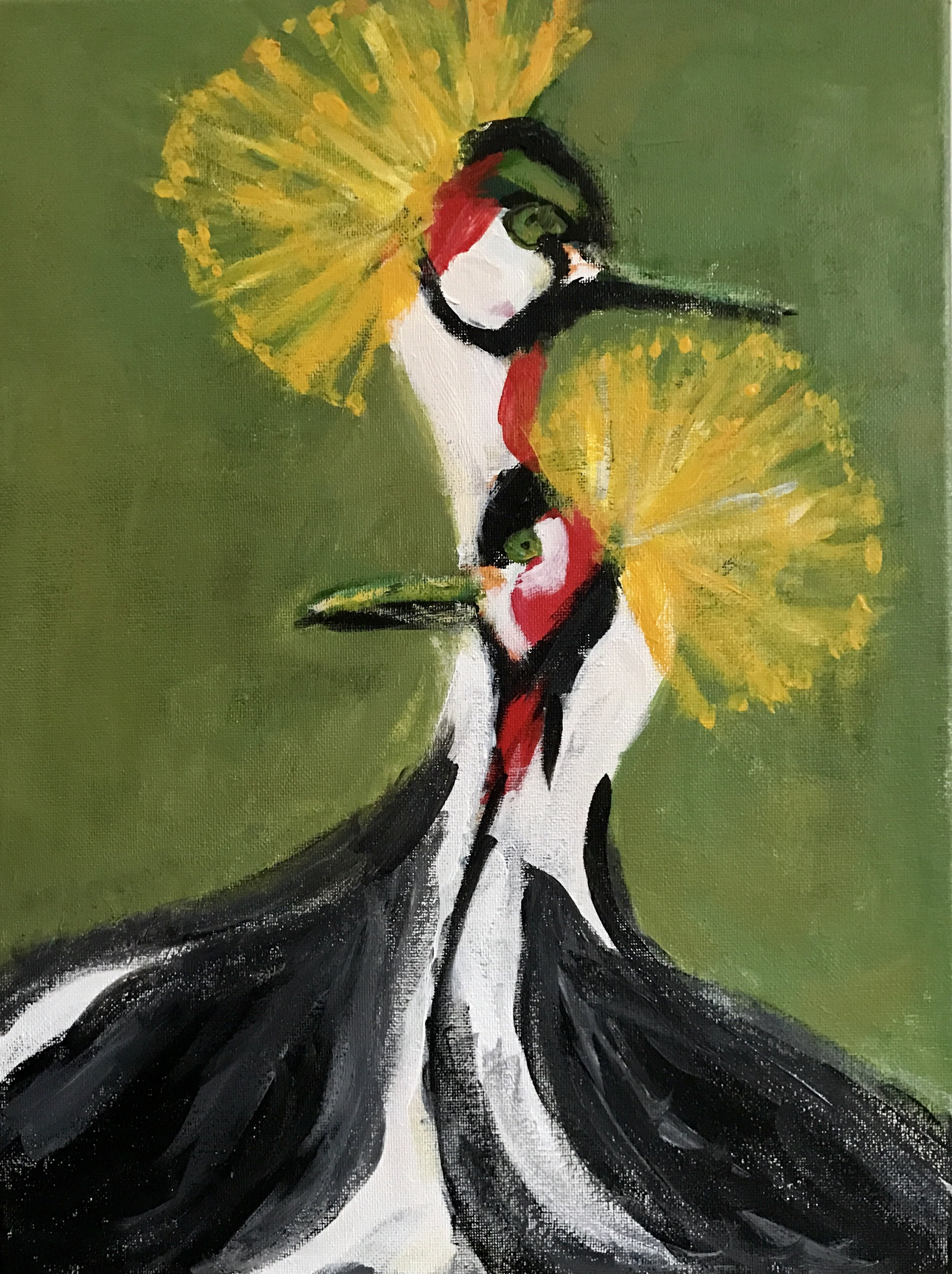 Two Crested Cranes