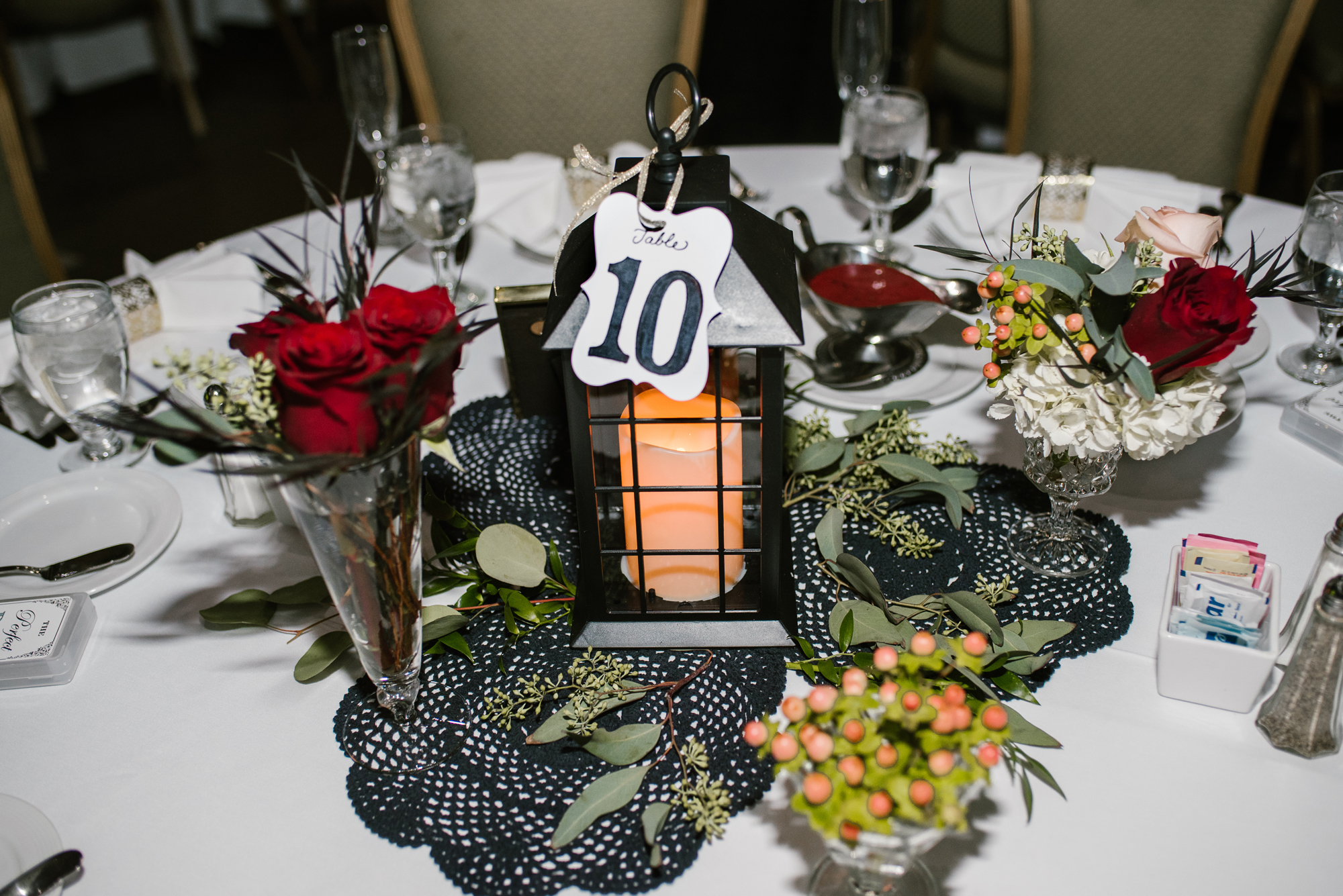 wedding table setup with lantern