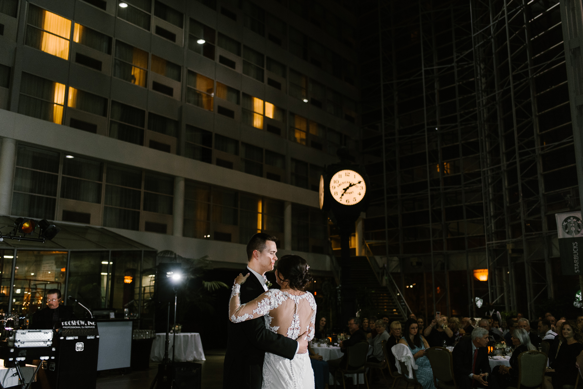 bride and groom first dance at Doubletree in South Bend