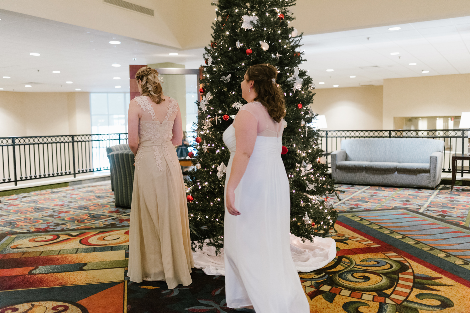 Brides having a first look together before wedding