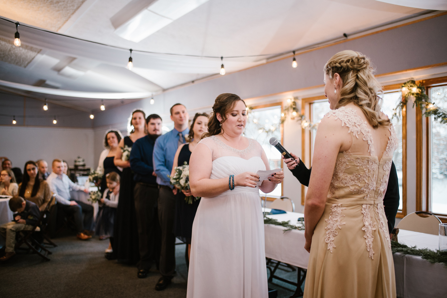 Bride giving vows during LGBT Wedding Ceremony