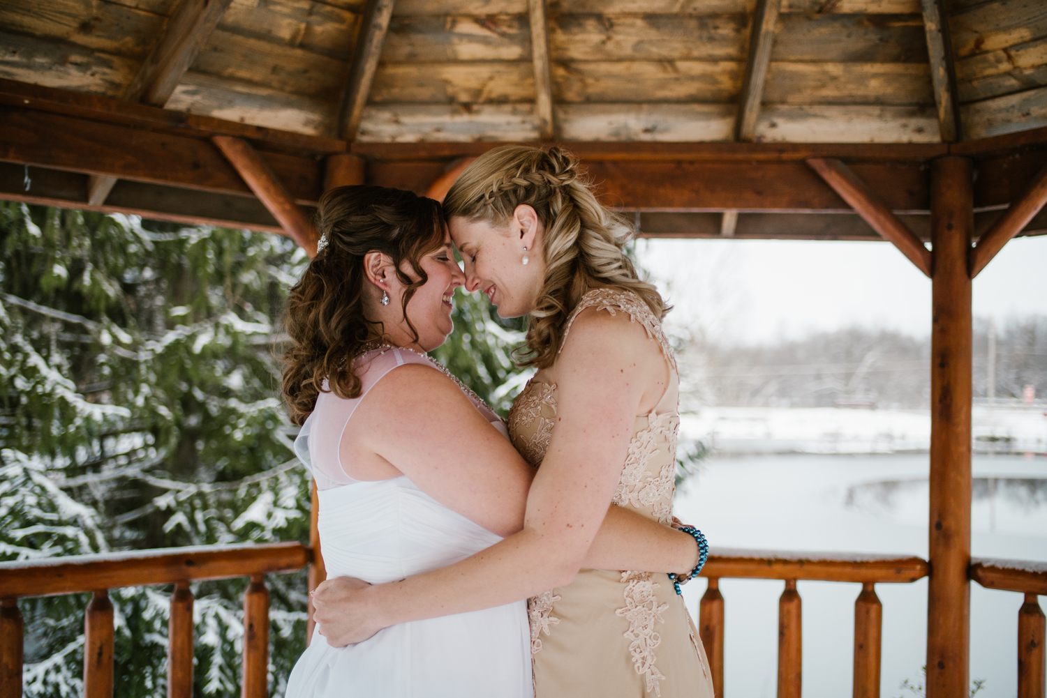 winter brides with forheads together