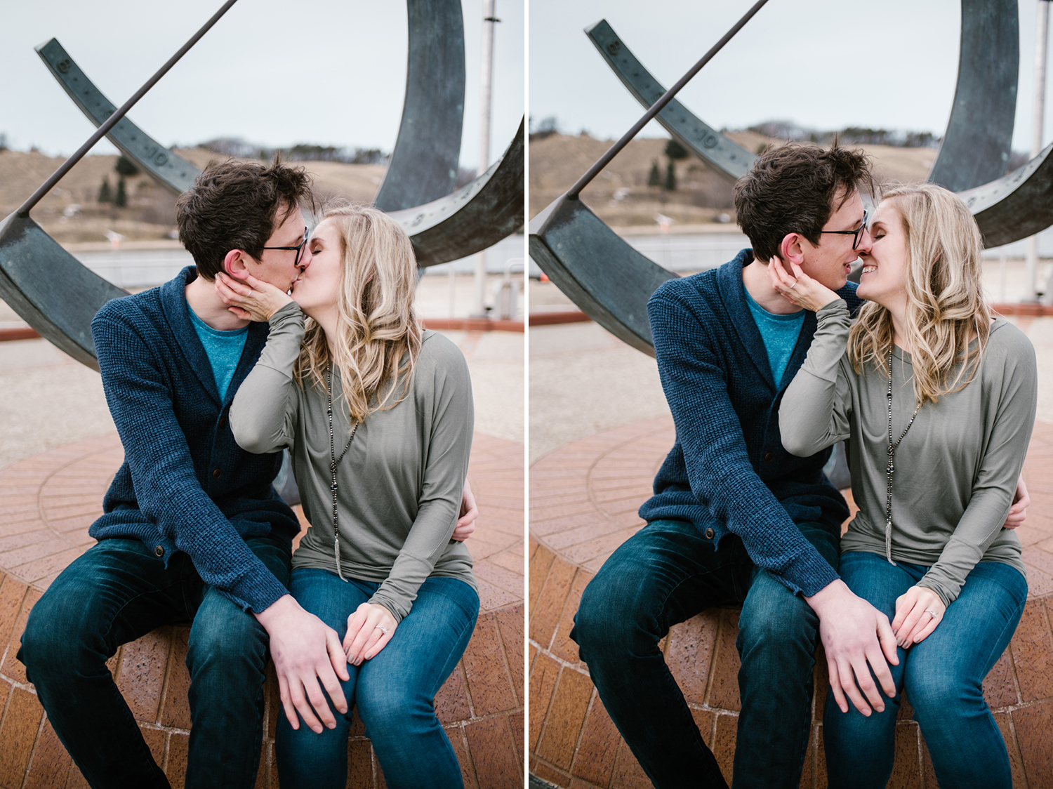 couple kissing during engagment session