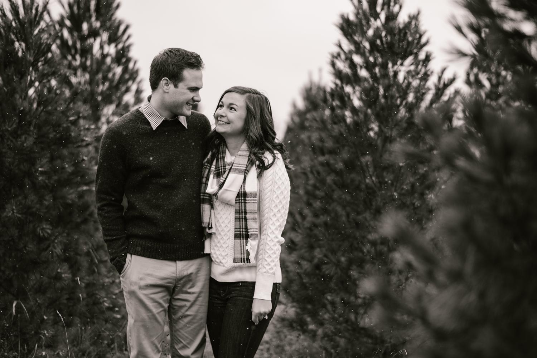 Grand Rapids Michigan Christmas Tree Farm Couples Session Laura Ryan Sydney Marie Photography