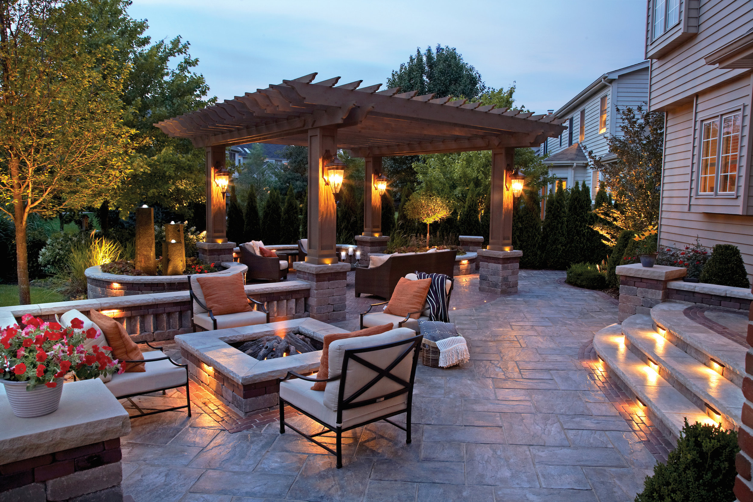 Professional landscape design with paving stones in Bergen County, NJ