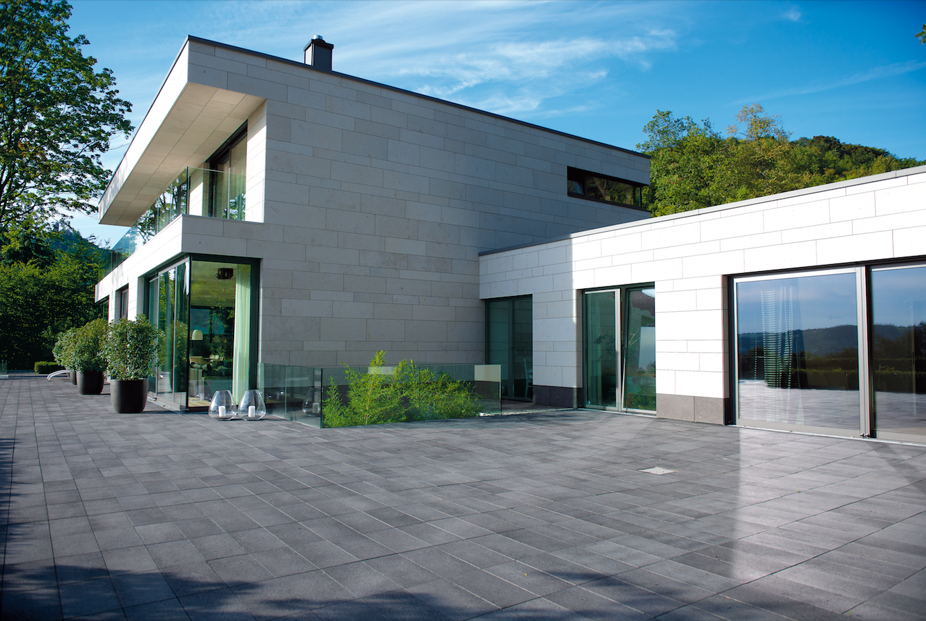 Unilock Wall Units and Paving Stones for Modern Rockland County, NY, Patio Designs