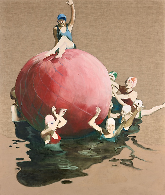 Ellen Lanyon, The Big Red Ball / image via  Art Institute Chicago