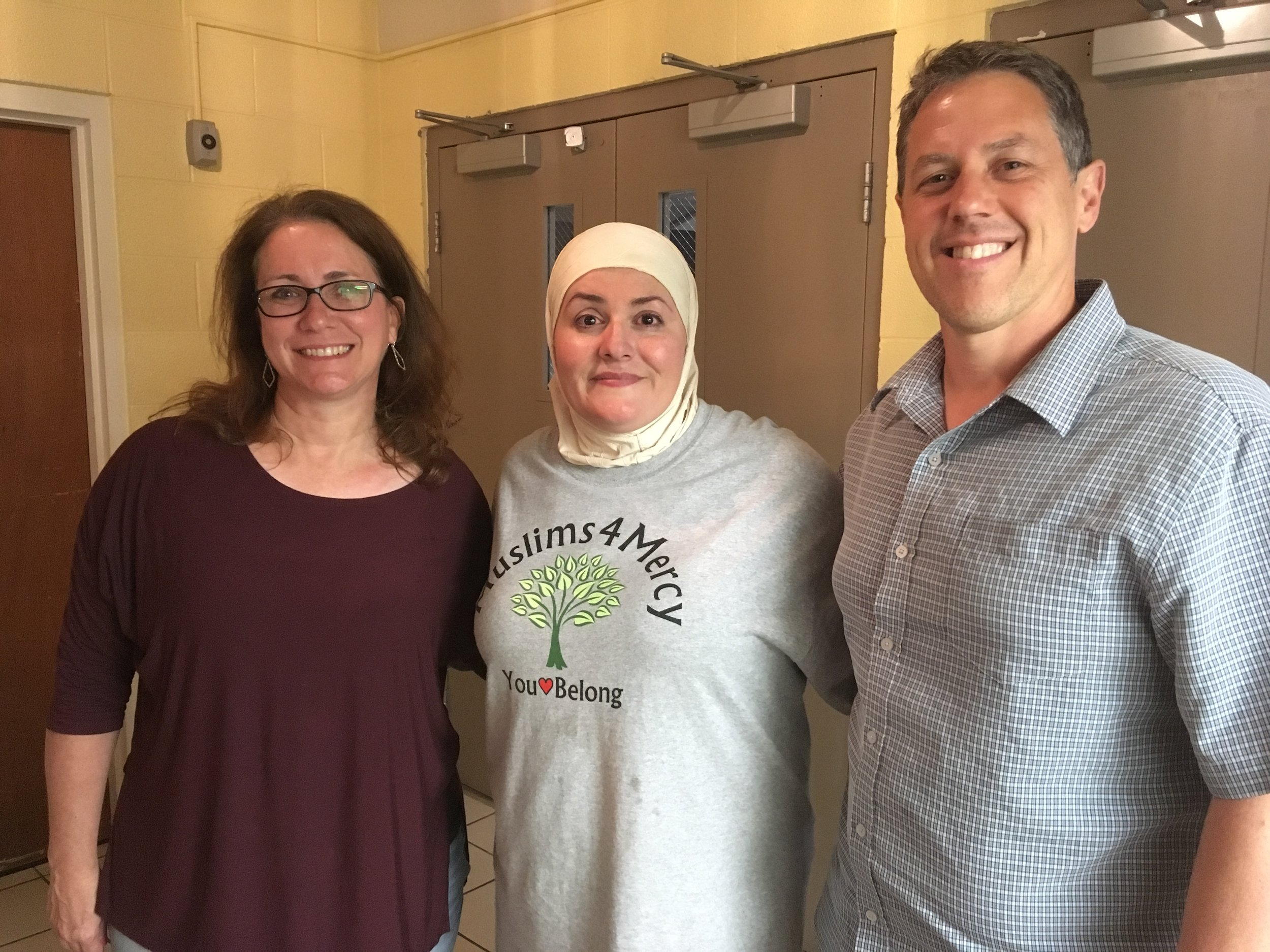 Jill Taylor, Aliye Shimi, and Greg Taylor at Memorial Drive Church of Christ for Iftar Dinner sponsored by Islamic Relief and hosted by Muslims4Mercy and Memorial Drive Church of Christ.