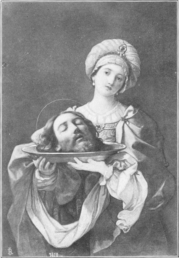 Reni, Plate 82,  represents the daughter of Herodius bearing John's head to her mother. At Herod's command a soldier had brought it in a charger, and given it to the damsel. (Verse 28). Source: Project Gutenberg's  The Great Painters' Gospel, by Henry Turner Bailey