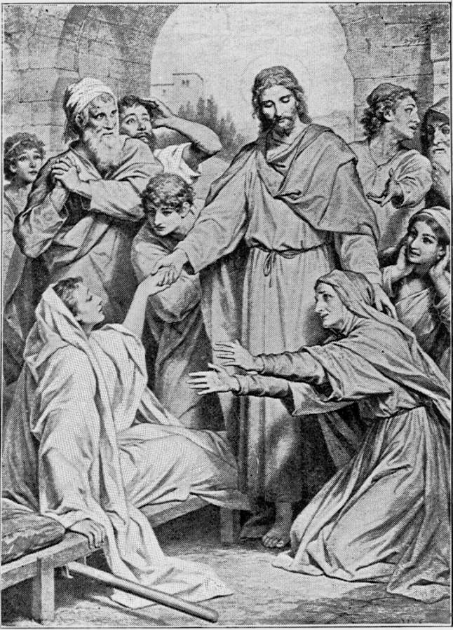 """Hofmann, Plate 72,  has illustrated the raising of the widow of Nain's son, as graphically as Luke has told it, in chapter 7, verses 11 to 16. """"Every one was awe-struck and began praising God."""" Source: Project Gutenberg's  The Great Painters' Gospel, by Henry Turner Bailey"""
