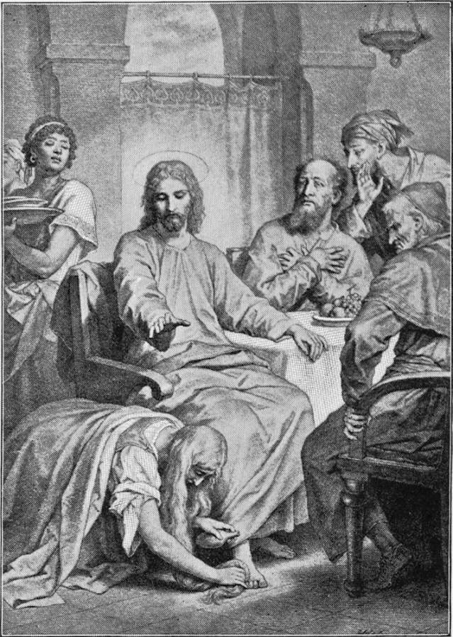 """Hofmann, Plate 75,  shows the self-righteous Pharisee, with his hypocritical friends, more graphically than either of the other artists. His keen insight into character is reflected from every face. Hofmann, above many others, is true to the account, and true to human nature. """"Thy sins are forgiven,"""" Jesus is saying. (Verse 48). Source: Project Gutenberg's  The Great Painters' Gospel, by Henry Turner Bailey"""
