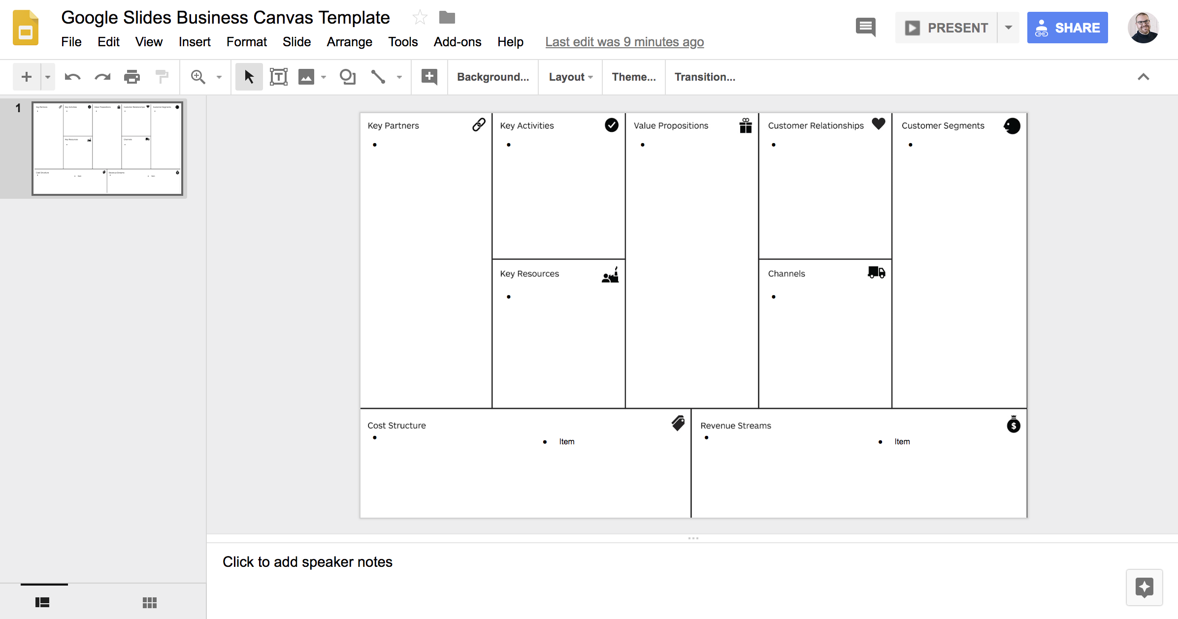 Business Canvas Tempalate Google Docs