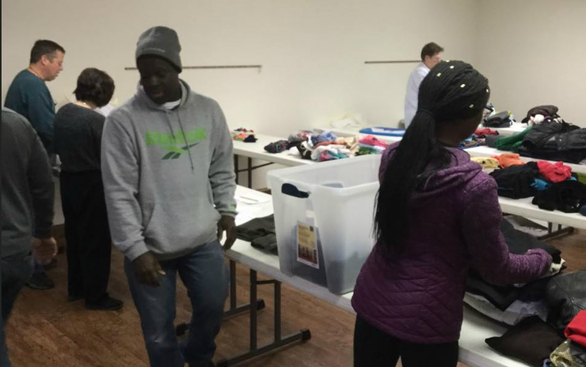 The group sort clothing collected