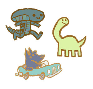 """PIN PARTY PINS: """"Long Neck"""", """" Car Dog"""", """"Alien On The Go"""" – $10 each"""