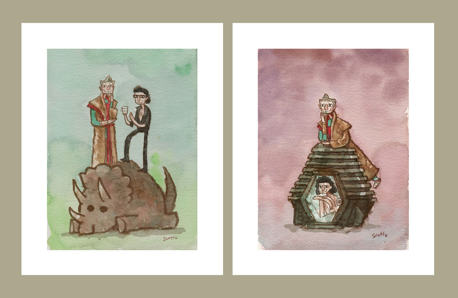 """Grandmaster Enjoying Chaos Theory"" and ""Grandmaster Enjoying Technology"" prints $25 each (8x10 inches, edition of 75)"