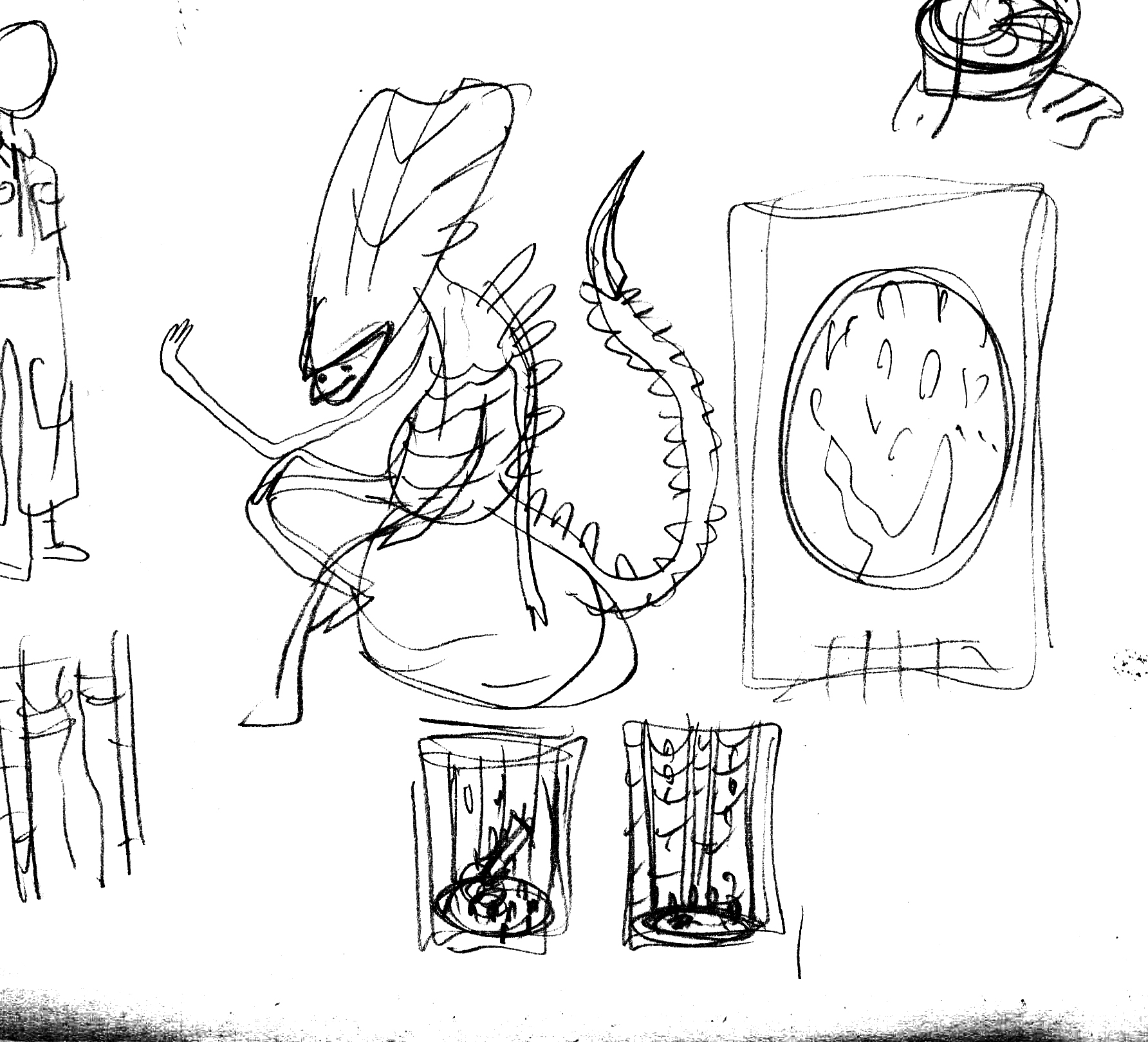 Here you can see the various thumbnails for the entire piece. I knew i wanted to have a lot of aliens hanging about together. I toyed with having them all in that big gun room and all over the egg in the movie poster. The egg won the idea battle.