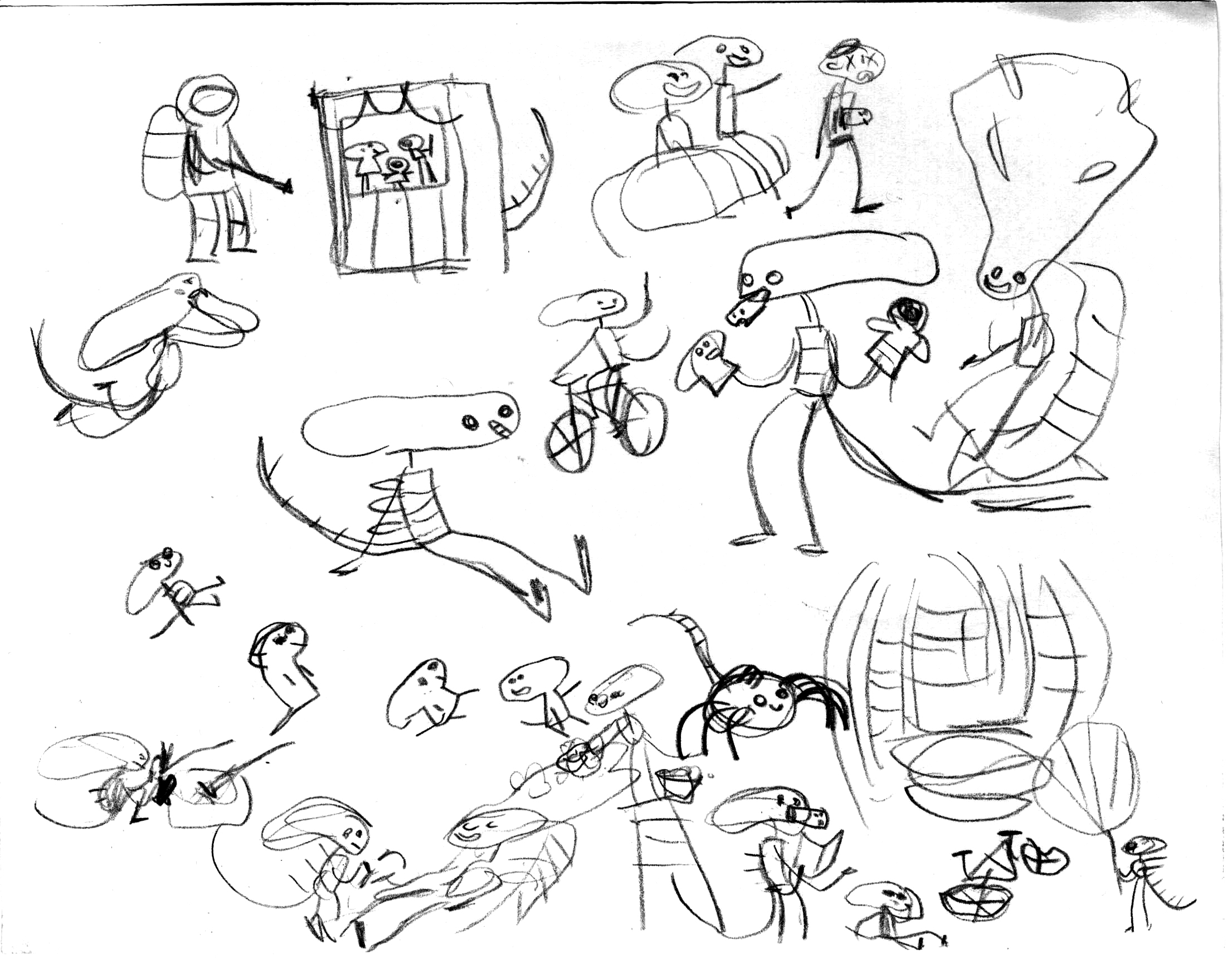 Just doodling aliens enjoying their days and nights.