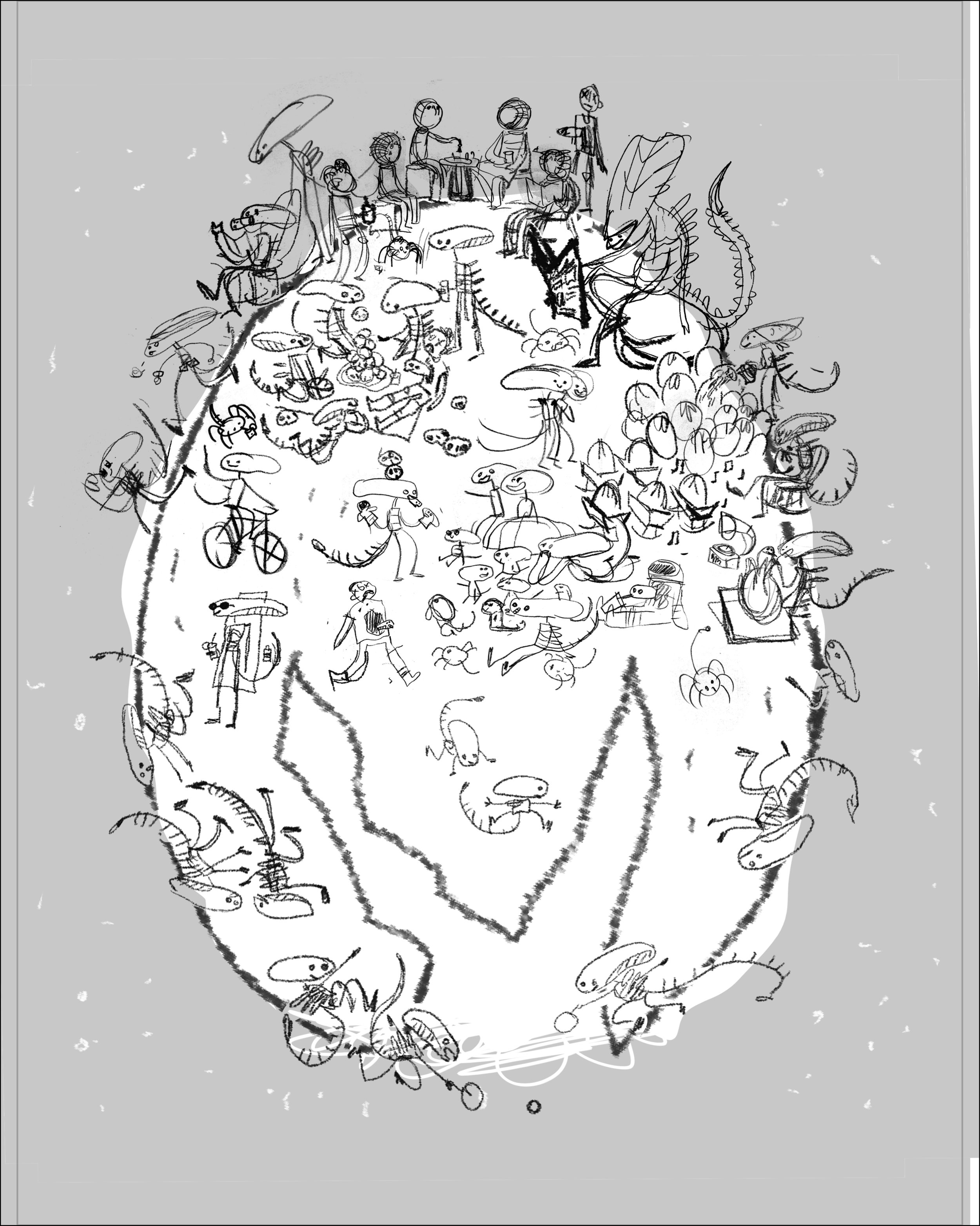 My favorite little moments were cut out and arranged onto the egg in photoshop. Real rough.