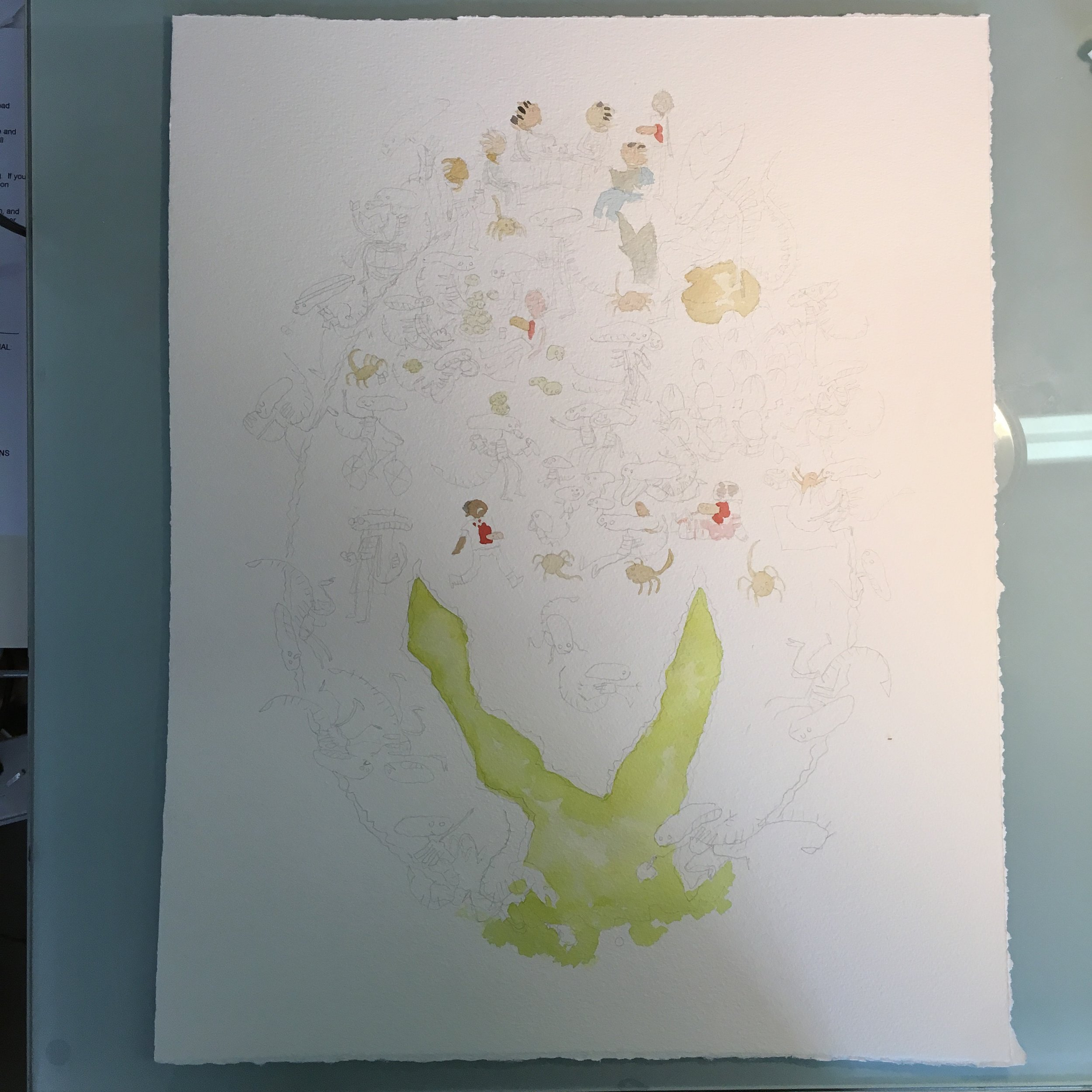 Printed out the drawing and traced it onto watercolor and started with the skins as usual! My superstitious start to all paintings.