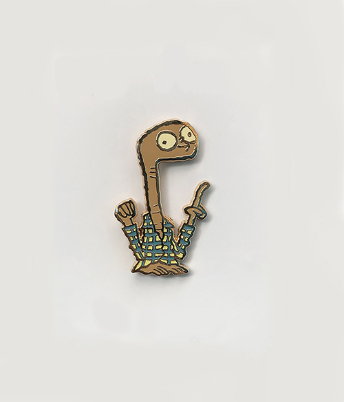 """Home Phoner"" enamel pin - $10 each   In addition to the Flying Bike print, we will have this wonderful little Home Phoning fellow! This little guy really wants to get home, but sometimes that is tough going. In the meantime he can certainly make your lapel feel better as he is pinned to it!"