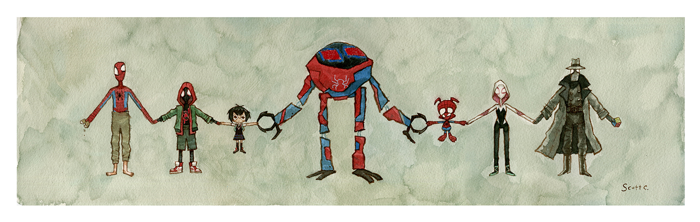 """Hands Across The Various Verses"" print - $35 (22 x 7 inches, edition of 200)   Sometimes we get the unique opportunity to meet our other self who lives in some other dimension. I have not had this happen yet, but this gang certainly has. They are taking this opportunity to hold hands across all of the verses in solidarity and love."