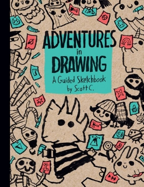 """   Adventures In Drawing: A Guided Sketchbook   "" - $16   I am very excited about this book, you guys. It is a guided sketchbook that is meant to inspire the reader to participate and create wonderful things. It is like a sketchbook journal that we can riff together on! I love it. This book came out at the end of 2018 from Insight Editions, so this will be the first time for it to visit San Diego Comic Con! You must come hang out with it!  ""Get ready to tap into your deep-down imaginative brains."""