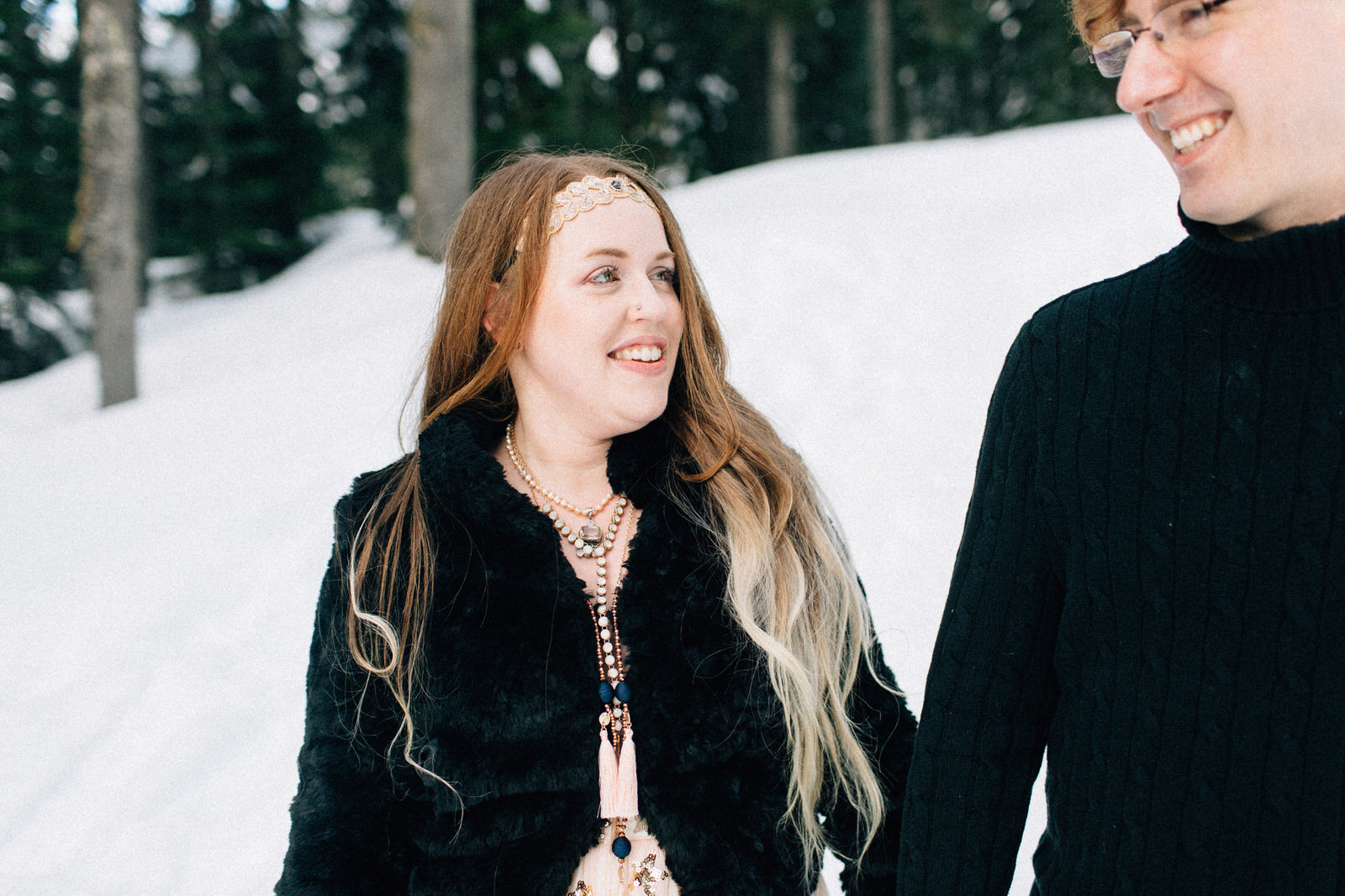 Snoqualmie Pass fuck yeah weddings engagement session snow mountains kendall shea feminist photographer