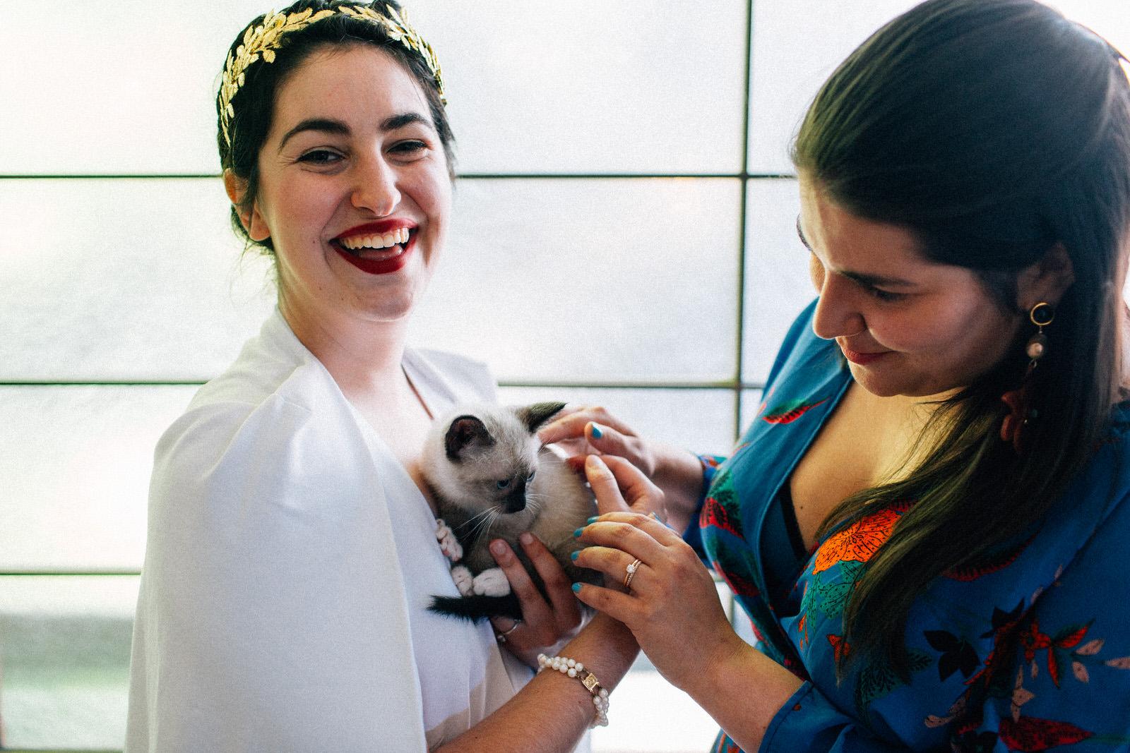 colleen iz quaker meeting house seattle washington feminist wedding kitten hour flower crowns indoor ceremony kendall lauren shea fuck yeah weddings