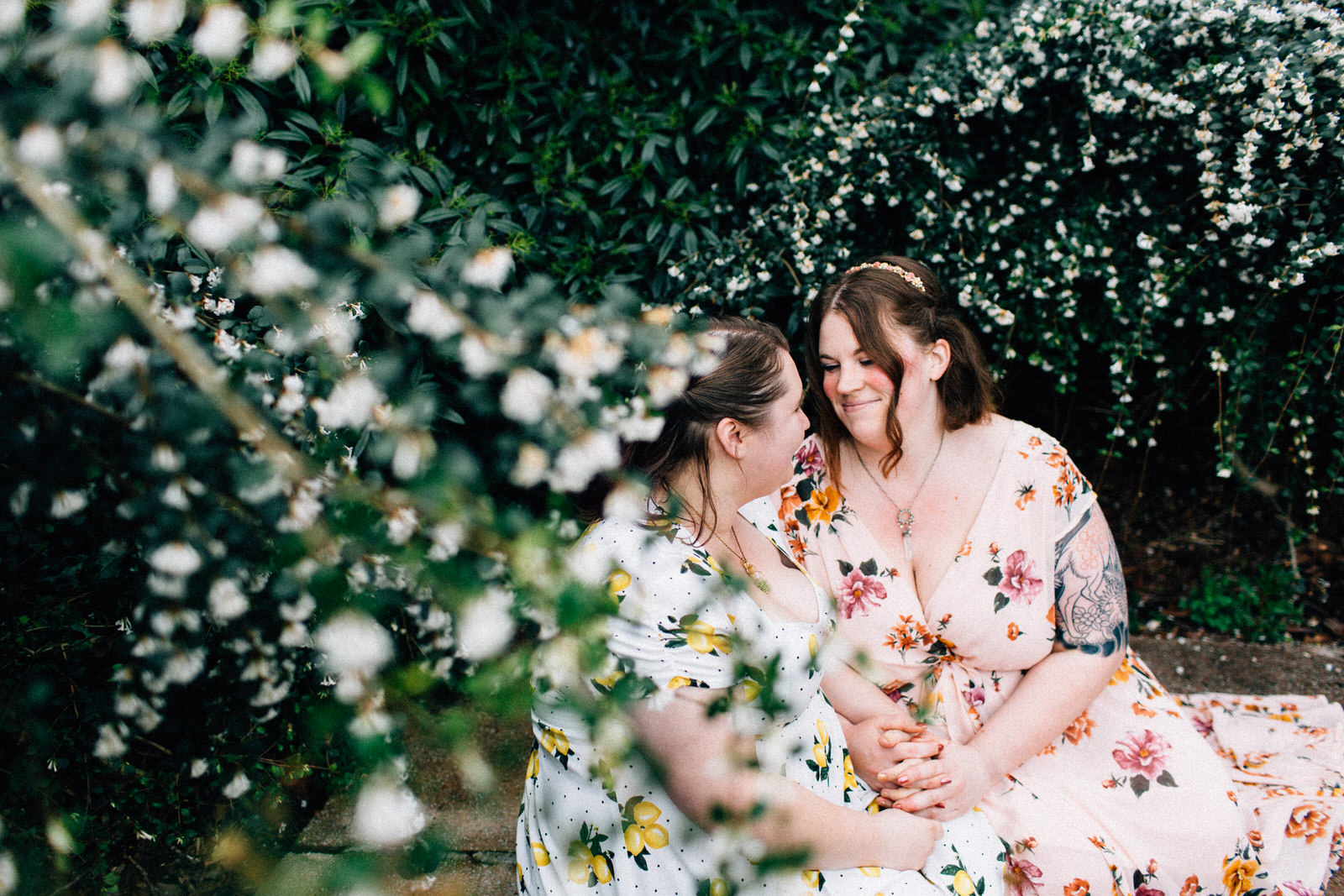spring cherry blossom seattle engagement session couples lesbian lgbt lgbtq queer outdoor natural light tacoma portland fuck yeah weddings kendall lauren shea feminist photographer