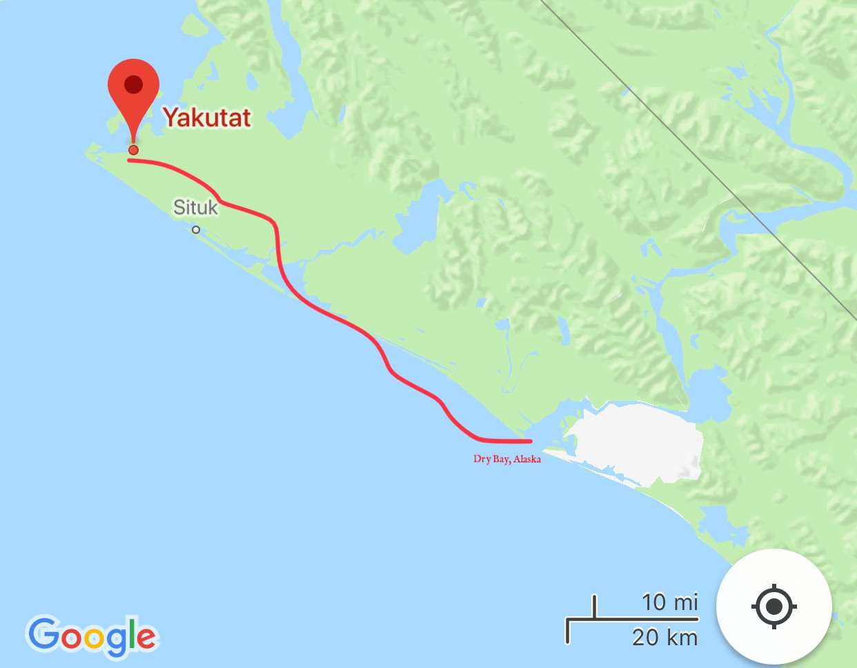 The route we took along the Alaskan coast so that we could meet up with our Air North plane.