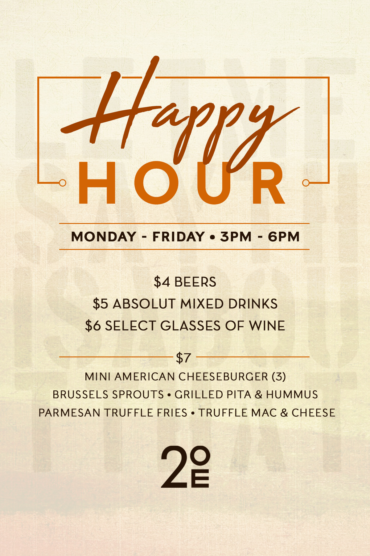 Join us for our new Happy Hour Monday - Friday from 3pm - 6pm. -