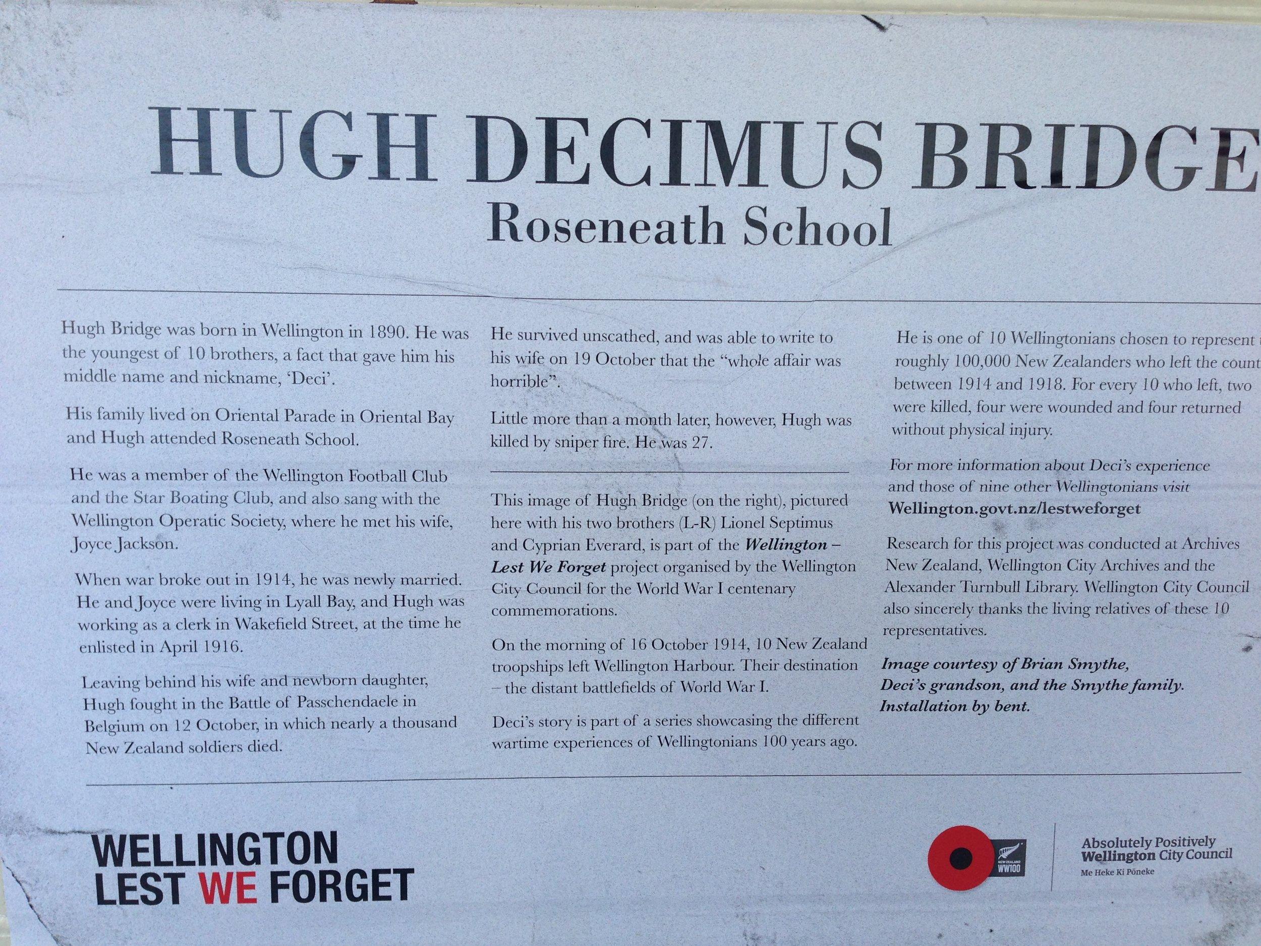 Information about Hugh (Decimus) Bridge