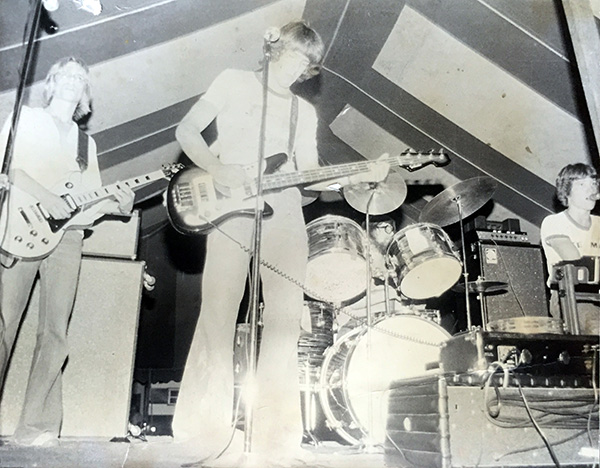 Early Blue (L to R: Jeff Okkonen, Nick Lewis, Dan Dillingham, Dennie Middleton) at the Rodeo Grounds beer tent in 1977.