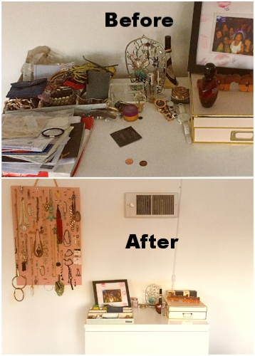 From cluttered dresser to beautiful, organized jewelry hanger.