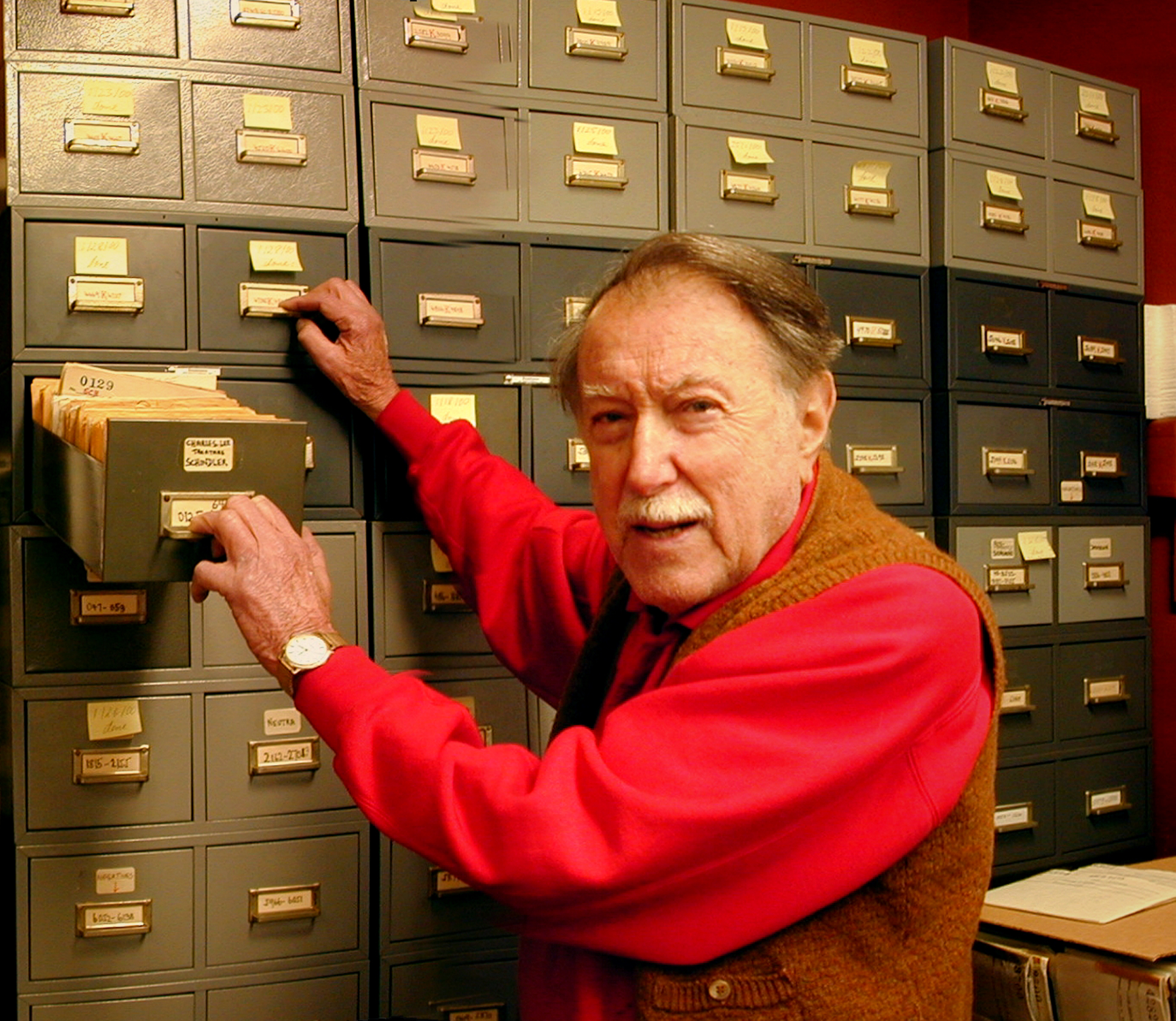 Julius Shulman in his archive.