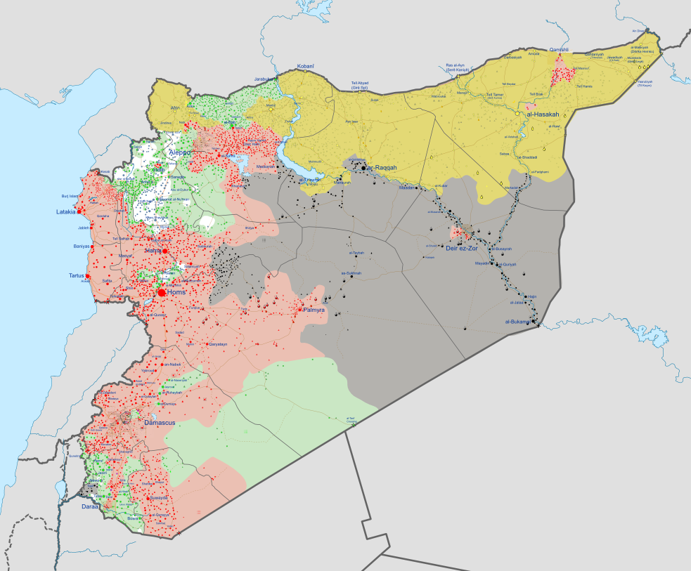 A map of the Syrian Civil War. Red represents government control, while green represents rebel control. Yellow and Blue/White represent Kurds and Al Nusra respectively. Black represents the Islamic State.
