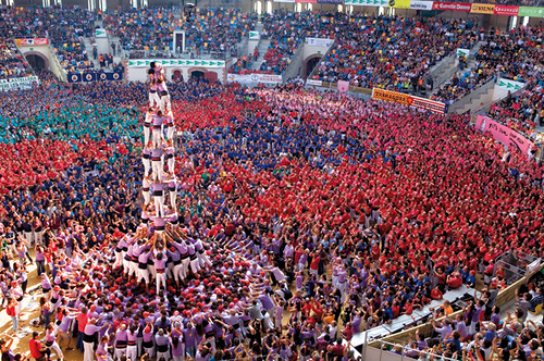 Castells originate as far as the late 1700's. After near extinction under Franco's regime, the practice of forming these colorful human towers has seen a resurgence as Catalonian independence sentiments rise.