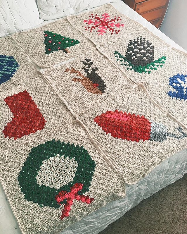I mentioned in my Insta-story a few days ago that I was working on a Christmas Crochet project -- Well here it is! Ta Da!!! It's going to be a Christmas afghan! 🎄🤶🏻🎅🏻 ⠀ ⠀ I saw the pattern last year on @makeanddocrew and thought it was the cutest Christmas blanket I'd ever seen. My favorite block is a tie between the wreath and the reindeer. I love the stocking too.. Okay, I love all the blocks!⠀ ⠀ It's not finished yet, but I'd say I've got about a week's worth of work ahead of me. I cannot wait to see the finished product! What a cool heirloom to pull out each year during Holiday times... I'm filled with the Christmas spirit just thinking about it! ⠀ ⠀ #crochet #moderncrochet #christmas #christmascrochet #homemade #heirloom #cornertocornercrochet #makeanddocrew #handmadeisbest #crochetgirl #diy #cozy #christmascozy
