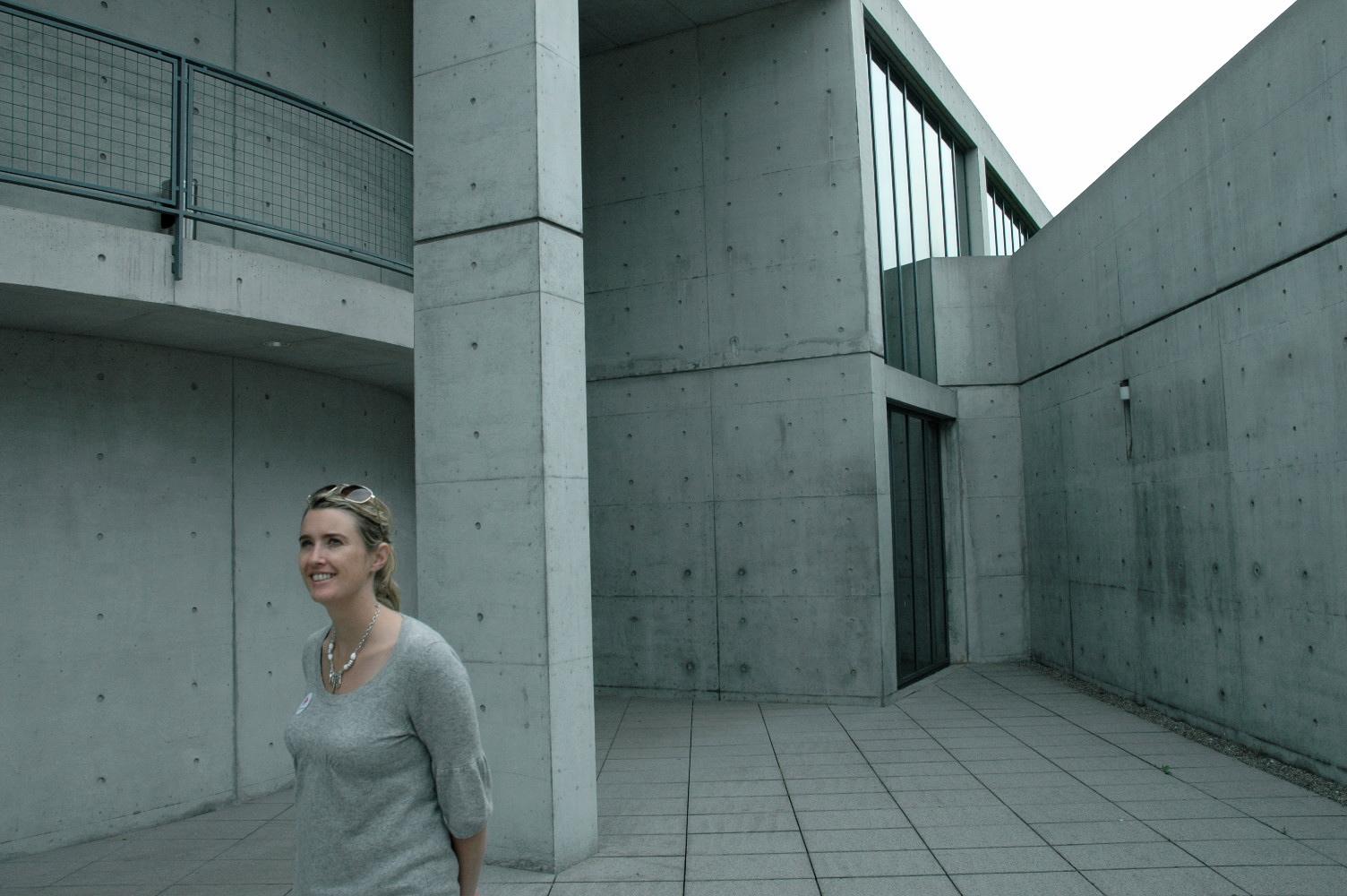 Lisa admiring the work of Tadao Ando at Vitra Campus, Germany