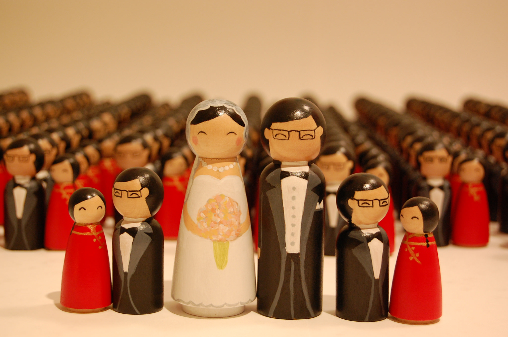 272 hand-painted wooden wedding dolls for a private client